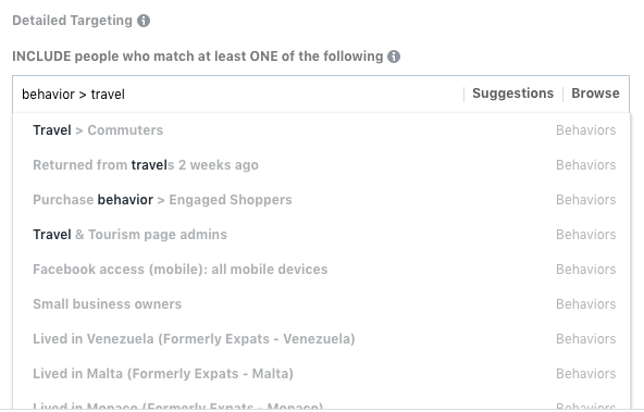 Facebook travel behaviors
