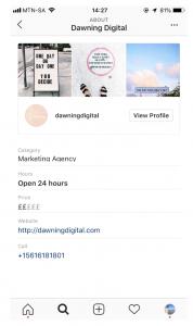 instagram local business profile