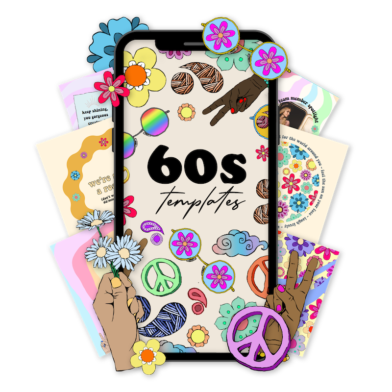 60's aesthetic templates arranged in a phone including stickers, instagram feed templates and instagram stories templates with a 60s aesthetic