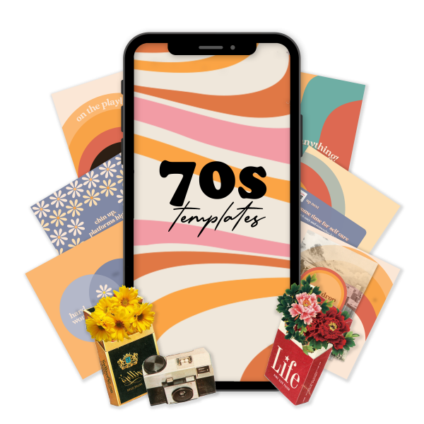 aesthetic, 70s aesthetic, retro, retro branding, social media templates, templates, digital marketing, old school, groocy, seventies art, 70s art, vintage, social media tips, branding tips, branding guide, instagram templates, canva templates