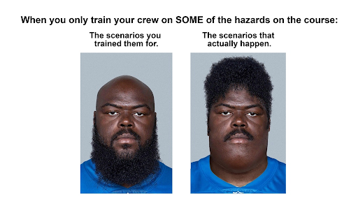 A meme for Golf Safety featuring one football player with a beard, and one with hair